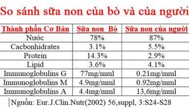 So sánh sữa non của bò và sữa non của người