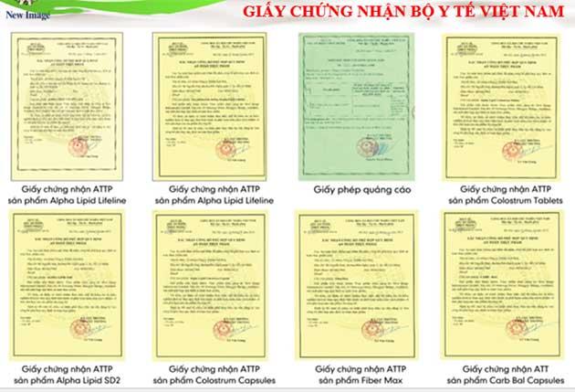 Sữa non alpha lipid - giấy chứng nhận của bộ y tế Việt Nam