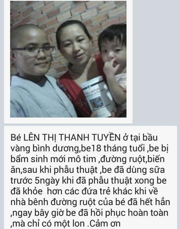 Nhân chứng sử dụng sữa non alpha lipid lifeline - Bé Lê Thị Thanh Tuyền