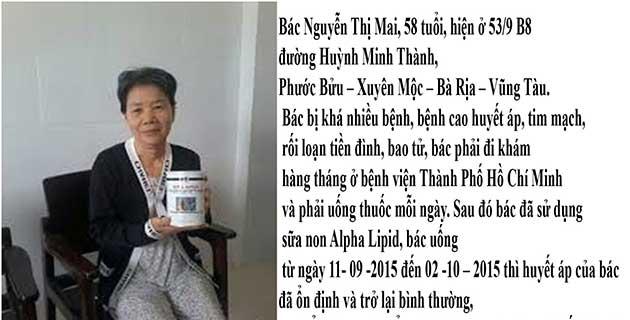 Nhân chứng sử dụng sữa non alpha lipid - Cô Nguyễn Thị Mai