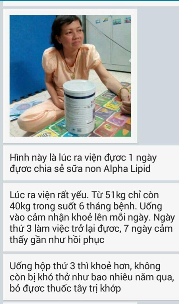Nhân chứng sử dụng sữa non alpha lipid - Cô Thiện