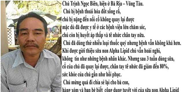 Nhân chứng sử dụng sữa non alpha lipid - Trịnh Ngọc Biên