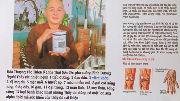 Nhân chứng sử dụng sữa non alpha lipid - Hòa Thượng Tắc Thiện.