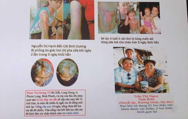Nhân chứng sử dụng sữa non alpha lipid - Nguyễn Thị Hạnh, Bé Lộc, Phạm Thị Hương, Trần Thị Ngon.