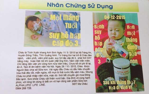 Nhân chứng sử dụng sữa non alpha lipid - Trịnh Xuân Khang Anh.